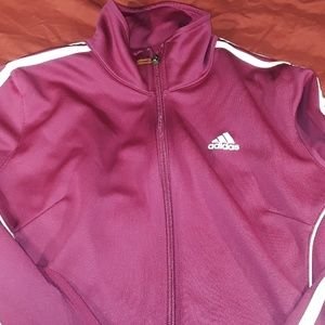 Adidas purple Climacool jacket with white stripes
